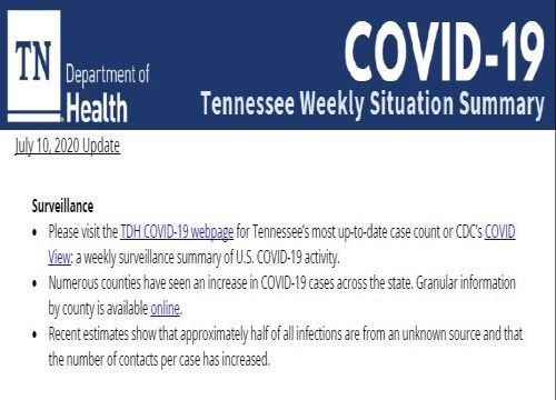 COVID-19 Tennessee Summary 7-10-20 Update Pic